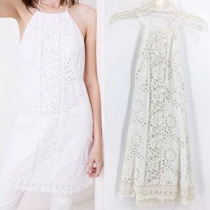 ZARA Trafaluc White Eyelet Halter Mini Dress